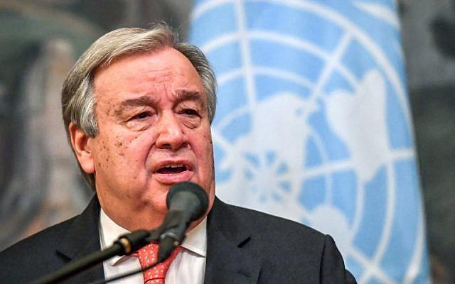 El Secretario General de las Naciones Unidas, Antonio Guterres, habla durante una conferencia de prensa después de su reunión con el Ministro de Asuntos Exteriores de Rusia, Sergei Lavrov, en Moscú el 21 de junio de 2018. (AFP Photo / Yuri Kadobnov)