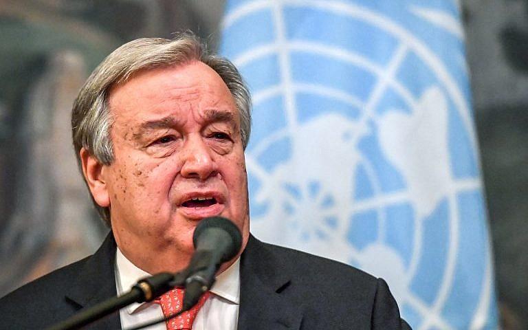 En esta foto de archivo tomada el 21 de junio de 2018, el Secretario General de las Naciones Unidas, Antonio Guterres, habla durante una conferencia de prensa después de su reunión con el Ministro de Asuntos Exteriores de Rusia en Moscú. (AFP Photo / Yuri Kadobnov)