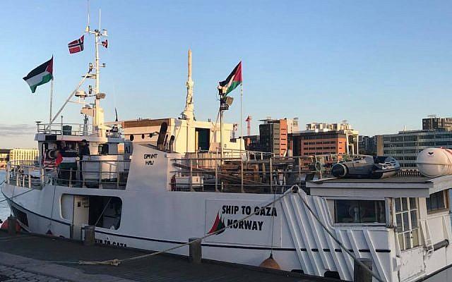 Un barco se prepara para zarpar hacia Gaza como parte de un intento de derrocar el bloqueo en el territorio, 22 de mayo de 2018 (Cortesía: Comité Internacional para Rompiendo el Sitio de Gaza)