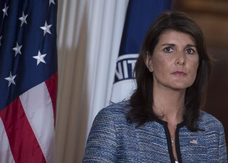 La embajadora de los Estados Unidos en las Naciones Unidas, Nikki Haley, habla en el Departamento de Estado de los Estados Unidos en Washington DC el 20 de junio de 2018 (AFP PHOTO / Andrew CABALLERO-REYNOLDS)
