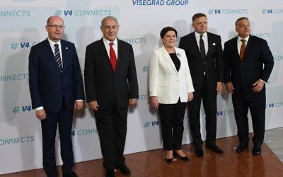 PM Netanyahu y los jefes de Estado de Hungría, Eslovaquia, República Checa y Polonia, en Budapest, 19 de julio de 2017 (Haim Tzach / GPO)