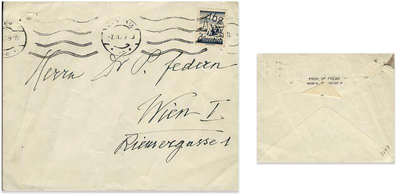 Sobre de la carta de Freud al Dr. Paul Federn