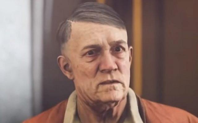 """El dictador nazi Adolf Hitler aparece sin bigote en la versión alemana del videojuego """"Wolfenstein II"""". (Captura de pantalla: YouTube)"""