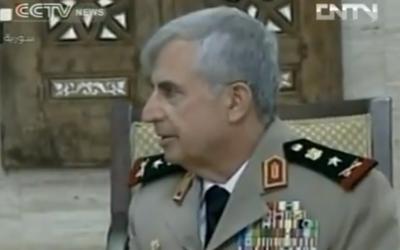Jefe de Estado Mayor sirio Ali Abdullah Ayoub (crédito de la foto: captura de imagen del video de YouTube subido por GoUTube123)