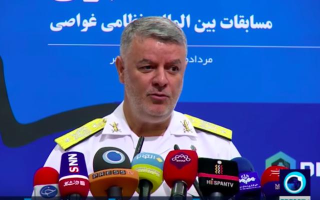 El contraalmirante de la armada Hossein Khanzadi habla en una conferencia de prensa en Teherán el 31 de julio de 2019. (Captura de pantalla: YouTube / PressTV)
