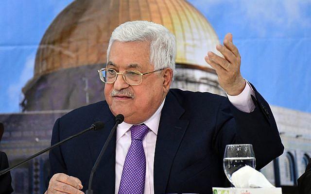 El presidente de la Autoridad Palestina Mahmoud Abbas pronunciar un discurso el 15 de agosto de 2018. (WAFA)
