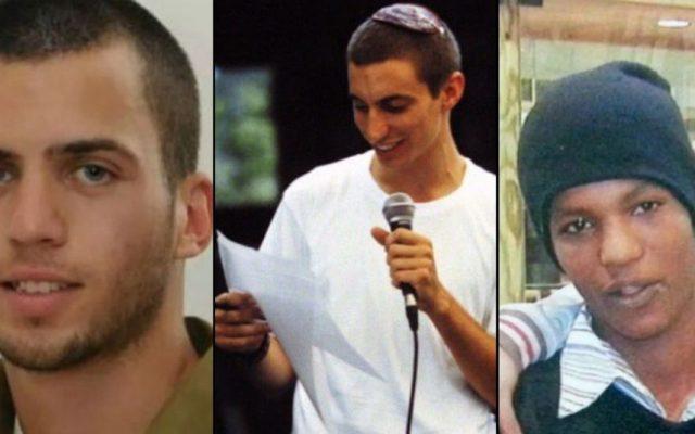 De izquierda a derecha: Oron Shaul, Hadar Goldin y Avraham Mengistu. (Flash90 / The Times of Israel)