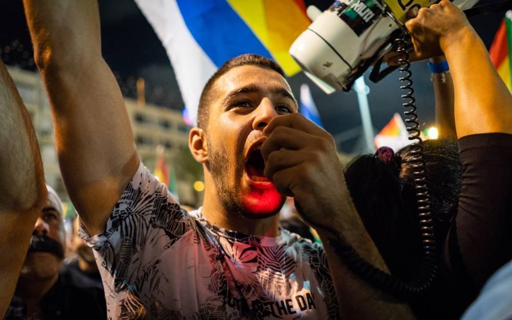 Los manifestantes drusos en una manifestación en Tel Aviv contra la ley estatal nacional, 4 de agosto de 2018. (Personal de Luke Tress / Times of Israel)