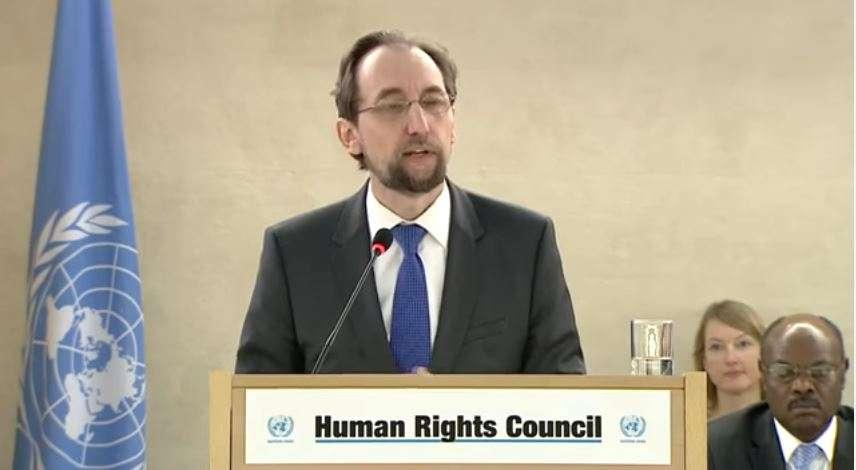 El Príncipe Zeid bin Ra'ad Zeid al-Hussein, Alto Comisionado de las Naciones Unidas para los Derechos Humanos se dirige al Consejo de Derechos Humanos en Ginebra, Suiza el 27 de febrero de 2017. (Captura de pantalla / Youtube)
