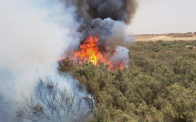 Un incendio forestal cerca del Kibbutz Re'im al este de la frontera con Gaza, el 25 de julio de 2018. (Cortesía del Distrito Sur de Servicios de Bomberos y Rescate)