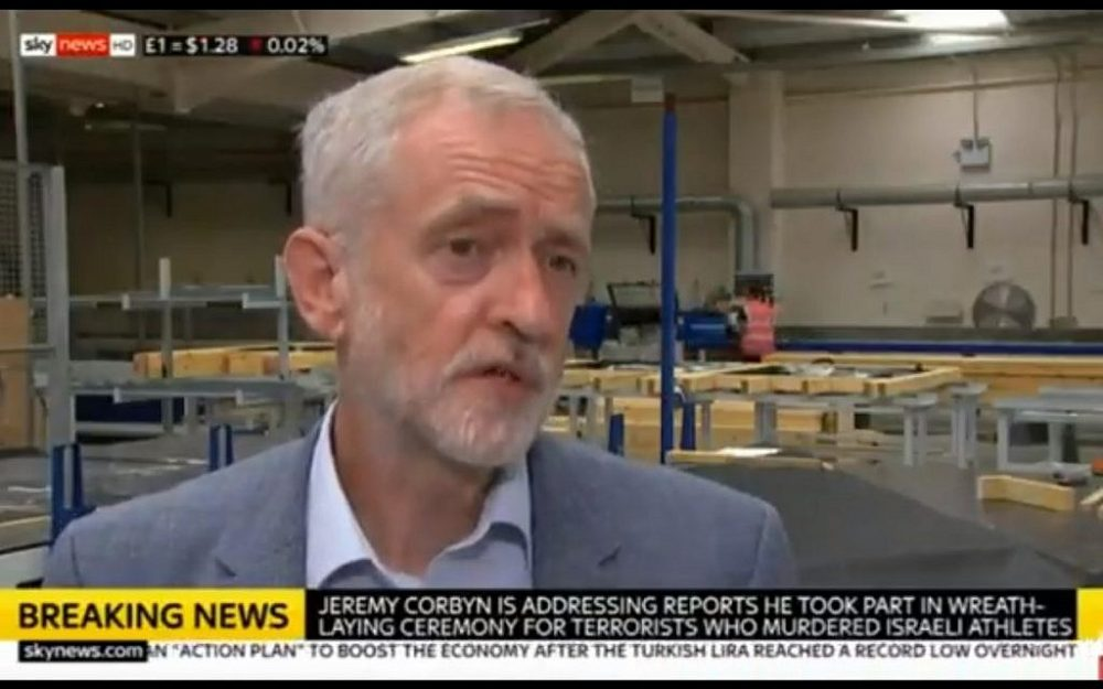 El líder laborista del Reino Unido, Jeremy Corbyn, admite que asistió a una ceremonia para honrar a los terroristas tras el ataque de los Juegos Olímpicos de Munich en 1972 el 13 de agosto de 2018. (Captura de pantalla: Sky News)