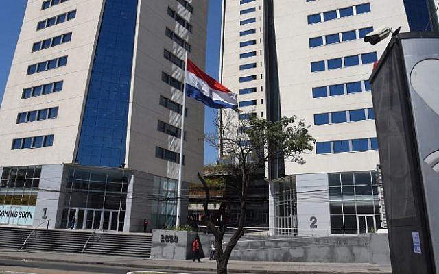 Vista del World Trade Center de Asunción, que albergaba la embajada de Israel, el 6 de septiembre de 2018. (AFP / NORBERTO DUARTE)