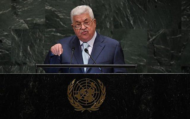 El presidente de la Autoridad Palestina, Mahmoud Abbas, se dirige a la 73ª sesión de la Asamblea General en las Naciones Unidas en Nueva York el 27 de septiembre de 2018. (TIMOTHY A. CLARY / AFP)
