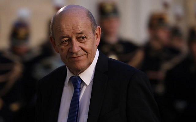 El Ministro de Asuntos Exteriores de Francia Jean-Yves Le Drian en el Palacio del Elíseo en París, el 30 de enero de 2018. (Ludovic MARIN / AFP)