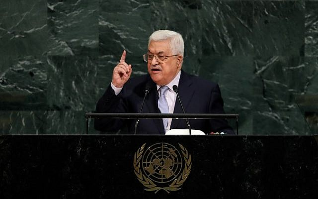 El presidente de la Autoridad Palestina, Mahmoud Abbas, se dirige a la Asamblea General de las Naciones Unidas en la sede de la ONU el 20 de septiembre de 2017 en la ciudad de Nueva York. (Drew Angerer / Getty Images / AFP)