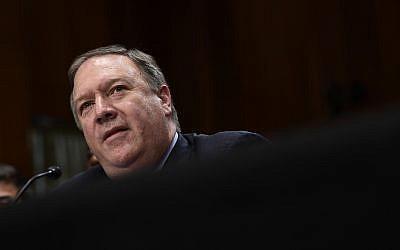 El Secretario de Estado de los Estados Unidos, Mike Pompeo, testifica ante el Comité de Relaciones Exteriores del Senado en Capitol Hill, Washington, el 25 de julio de 2018. (Susan Walsh / AP)
