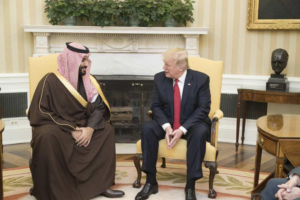El presidente de los Estados Unidos, Donald Trump, habla con el Príncipe Heredero de Arabia Saudí, Mohammed bin Salman, durante su reunión del 14 de marzo de 2017 en la Oficina Oval de la Casa Blanca en Washington, DC Crédito: Foto oficial de la Casa Blanca de Shealah Craighead.