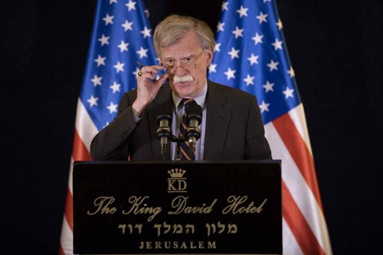 El Asesor de Seguridad Nacional de los EE. UU., John Bolton, habla en una conferencia de prensa en Jerusalén el 22 de agosto de 2018. (AFP Photo / Pool / Abir Sultan)