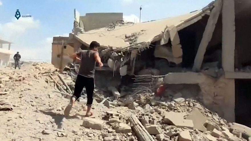 Las ruinas dejadas por un bombardeo el fin de semana