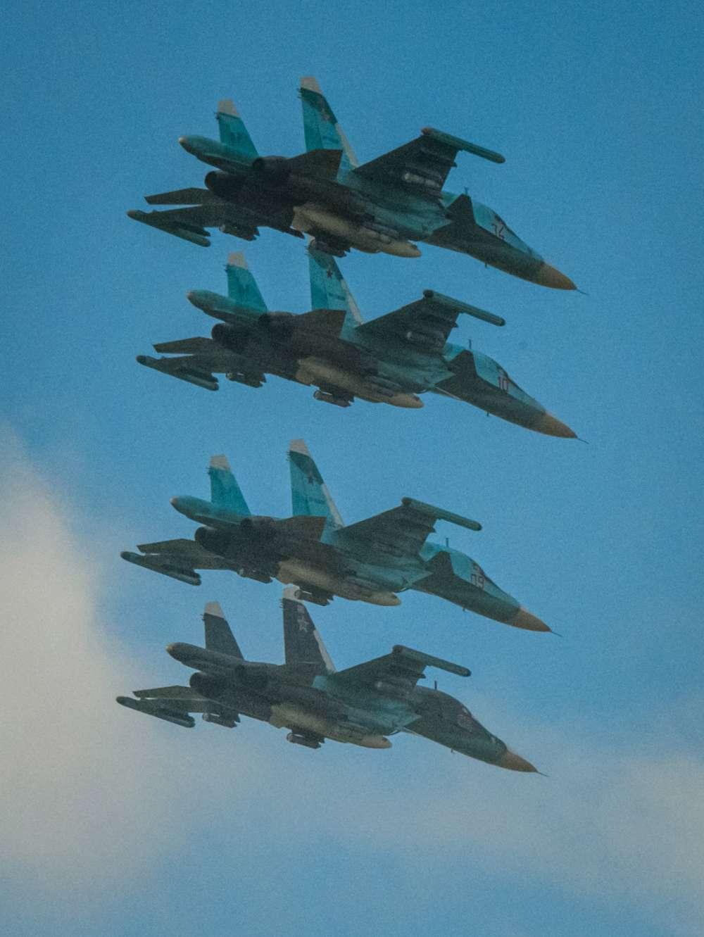 Cuatro cazas rusos Sukhoi Su-34