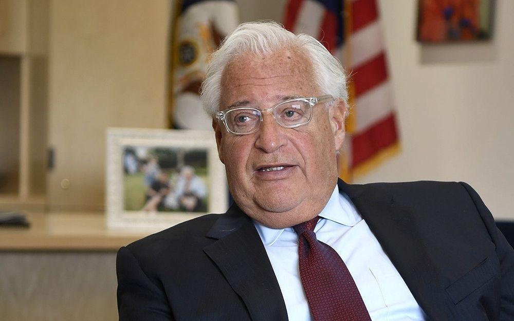 El embajador de los Estados Unidos en Israel, David Friedman, en una entrevista con el Times of Israel en la Embajada de los Estados Unidos en Jerusalem, el 30 de mayo de 2018 (Matty Stern, Embajada de los Estados Unidos en Jerusalem).
