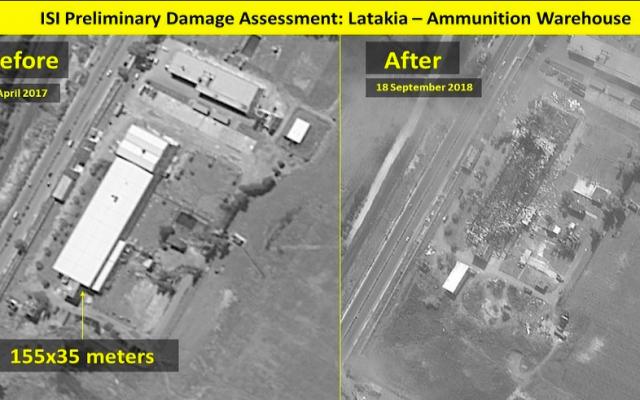 Una foto de antes y después de un depósito de municiones que fue destruido en un ataque aéreo israelí sobre una base siria en Latakia, el 18 de septiembre de 2018 (ImageSat International (ISI / Ynet)