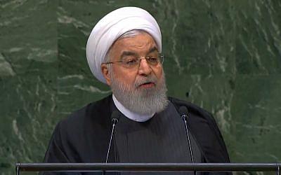 El presidente iraní Hassan Rouhani se dirige a la Asamblea General de las Naciones Unidas en Nueva York el 25 de septiembre de 2018. (captura de pantalla: YouTube)