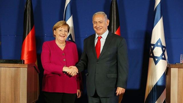 Merkel y Netanyahu en la conferencia de prensa (Foto: Amit Shabi)