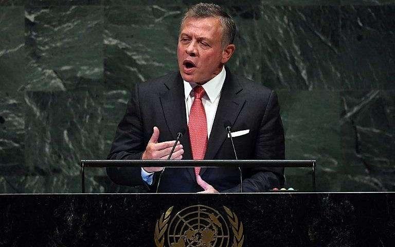 El rey de Jordania, Abdullah II, se dirige a la 73 sesión de la Asamblea General en las Naciones Unidas el 25 de septiembre de 2018, en Nueva York.(AFP PHOTO / TIMOTHY A. CLARY)