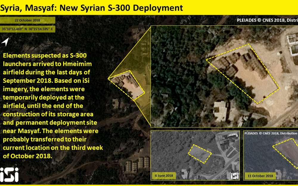 Fotografías satelitales publicadas por ImageSat International el 24 de octubre de 2018, que se dice muestran un sitio cerca de la ciudad siria de Masyaf, al noroeste, donde se desplegaron los sistemas de defensa aérea S-300 de fabricación rusa. (ImageSat International)