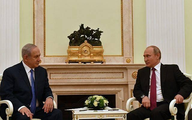 El primer ministro de Israel Benjamin Netanyahu, izquierda, se reúne con el presidente de Rusia, Vladimir Putin en Moscú, el 11 de julio de 2018. (Ministerio de Relaciones Exteriores de Israel)