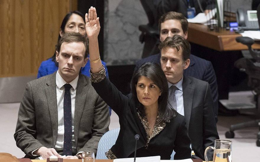 Ilustrativo: el embajador de los Estados Unidos ante la ONU Nikki Haley votó en contra de una resolución del Consejo de Seguridad sobre Jerusalén el 18 de diciembre de 2017. (Eskinder Debebe / ONU)