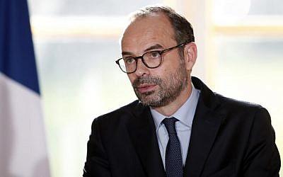 El primer ministro francés, Edouard Philippe, pronuncia un discurso en el Palacio del Elíseo, en París, durante un seminario del gobierno que se celebró después de la primera reunión semanal del gabinete del año, el 3 de enero de 2018. (AFP / Pool / Benoit Tessier)