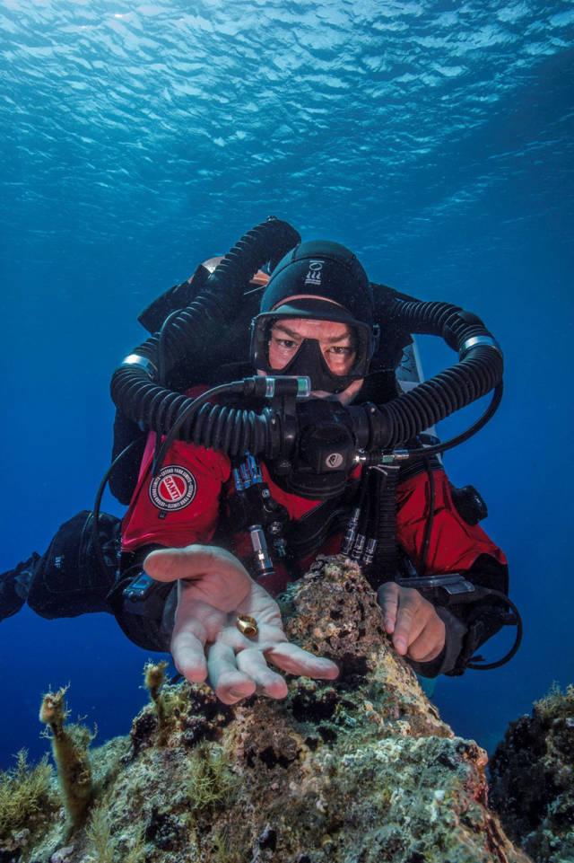 Foley levantando un anillo de oro encontrado en el fondo del mar Brett Seymour / EUA / ARGO