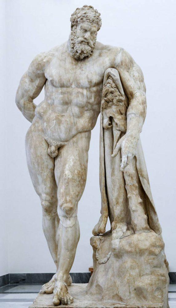 Estatua de Hércules en reposo llevando fruta en su mano derecha. Copia romana de la era imperial después de un original griego de la era helenística temprana; El antebrazo izquierdo se restaura en escayola. Marie-Lan Nguyen / Farnese Colle