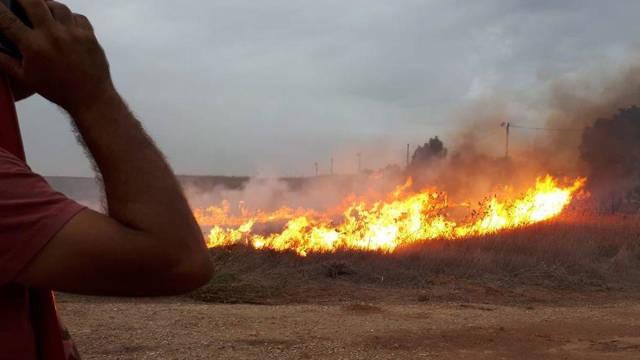 Incendio en la región fronteriza de Gaza