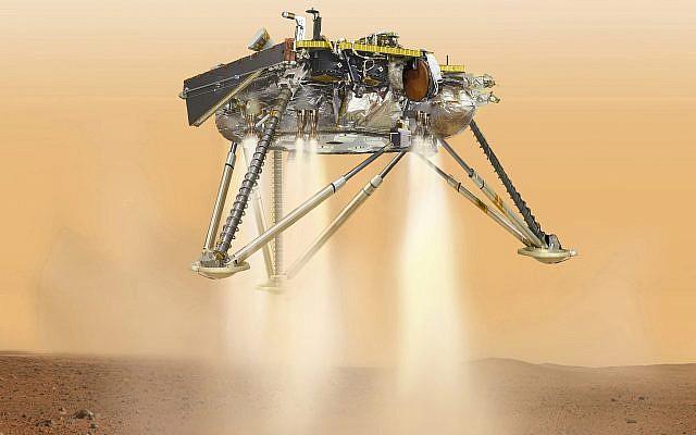 Esta imagen, disponible por la NASA en octubre de 2016, muestra una ilustración del aterrizaje InSight de la NASA a punto de aterrizar en la superficie de Marte. (NASA / JPL-Caltech a través de AP)