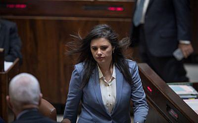 La Ministra de Justicia, Ayelet, sacudió en una sesión plenaria de la Knesset, 13 de marzo de 2018. (Hadas Parush / Flash90)