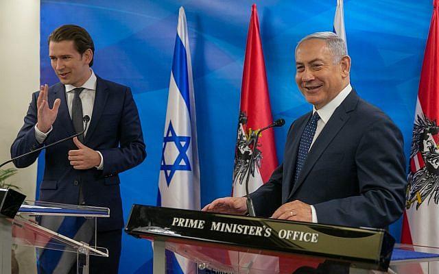 El primer ministro Benjamin Netanyahu con el canciller austriaco Sebastian Kurz (L) en la oficina del primer ministro en Jerusalén, 11 de junio de 2018. (Ohad Zwigenberg / Pool / Flash90)
