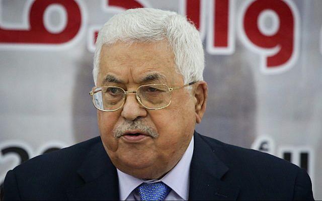 El presidente de la Autoridad Palestina, Mahmoud Abbas, en una reunión en la ciudad cisjordana de Ramallah el 28 de octubre de 2018. (Flash90)