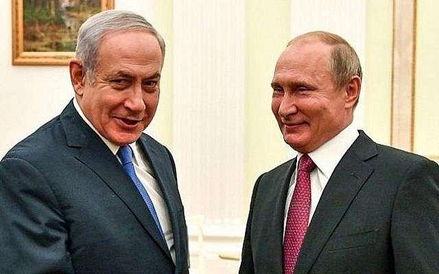 El presidente ruso Vladimir Putin (R) con el primer ministro israelí, Benjamin Netanyahu, durante su reunión en el Kremlin en Moscú el 11 de julio de 2018. (AFP / Pool / Yuri Kadobnov)