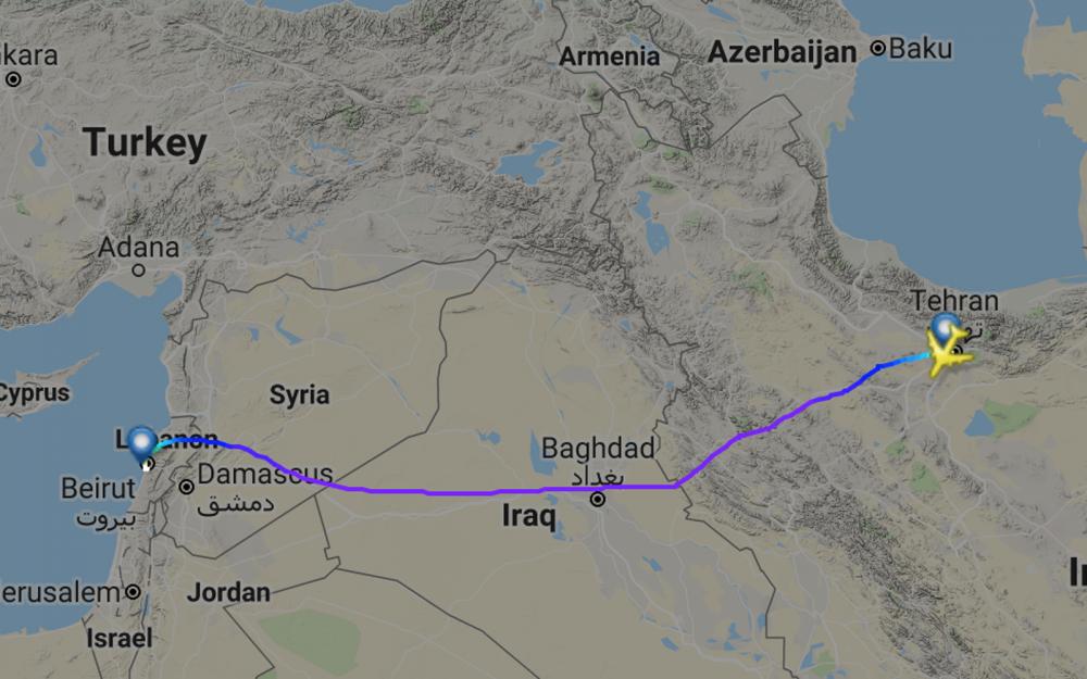 El vuelo No. QFZ-9964 de Fars Air de Irán viaja directamente de Teherán a Beirut el 29 de noviembre de 2018. (Captura de pantalla: FlightRadar24)