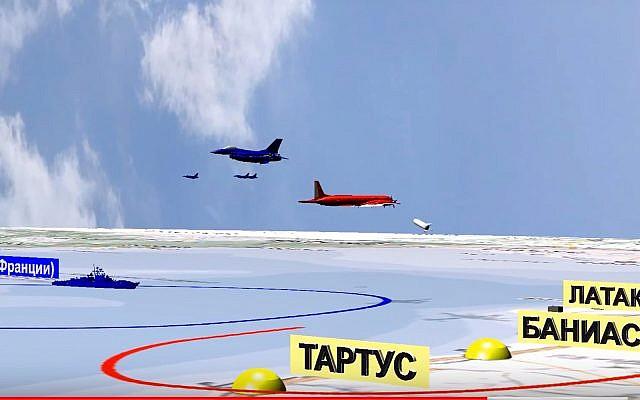 Una simulación por computadora lanzada por el Ministerio de Defensa ruso el 23 de septiembre de 2018, pretende mostrar aviones israelíes cerca de un avión de reconocimiento ruso, en rojo, frente a las costas de Siria, antes de que fuera disparado accidentalmente por las fuerzas sirias que respondían al ataque aéreo israelí. (Servicio de Prensa del Ministerio de Defensa de Rusia vía AP)