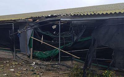 Un gallinero en el sur de Israel que fue alcanzado por un cohete desde la Franja de Gaza el 11 de noviembre de 2018. (Consejo Regional de Eshkol)