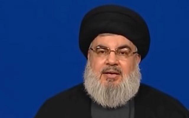 El líder de Hezbollah, Hassan Nasrallah, habla el 29 de junio de 2018. (captura de pantalla de YouTube)