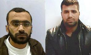 Los presuntos miembros de Hamas, Yazan Azafra, a la derecha, y Sayaf Azafra, a la izquierda, sospechosos de planear ataques con bombas contra objetivos israelíes en Cisjordania, arrestados por el servicio de seguridad Shin Bet en septiembre de 2018. (Servicio de seguridad Shin Bet)