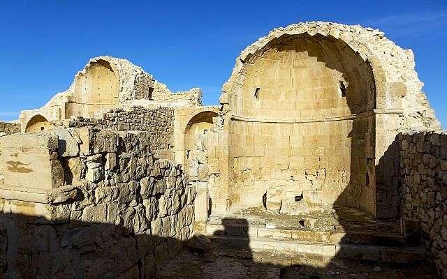 El bapisterio de la era bizantina Iglesia del Norte en Shivta en el Negev.(Dror Maayan)