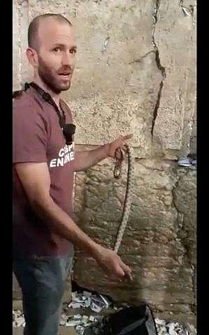 Un cazador de serpientes sostiene una serpiente que sacó del Muro Occidental, 31 de octubre de 2018. (captura de pantalla de Facebook)