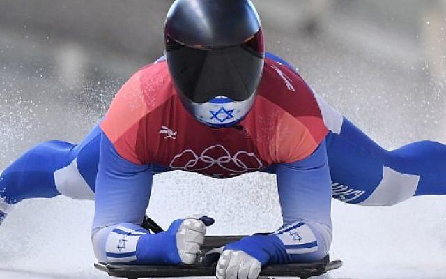 Adam Edelman, de Israel, se ralentiza al final del calor esqueleto masculino 2 durante los Juegos Olímpicos de Invierno Pyeongchang 2018 el 15 de febrero de 2018. (AFP / Mark Ralston)