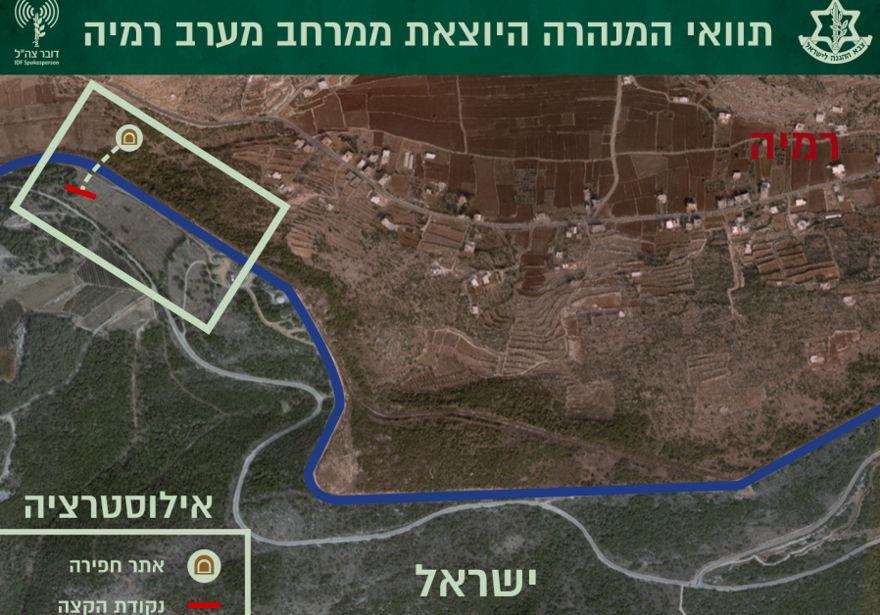 Mapa IDF de la ubicación del cuarto túnel de Hezbollah. (Crédito de la foto: IDF SPOKESPERSON'S UNIT)